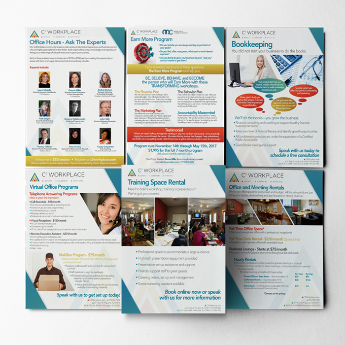 array of flyers designed for C3 Workplace