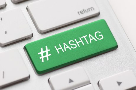 Green hashtag button on keyboard
