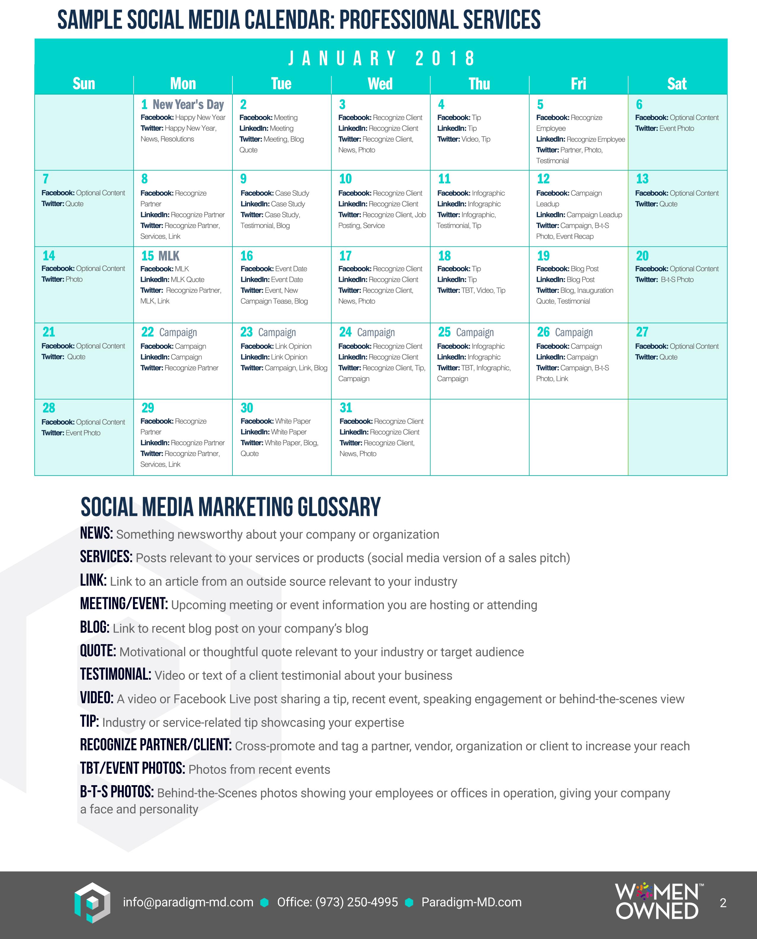 social media content calendar paradigm marketing and design