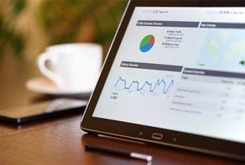 Laptop screen displaying website analytics