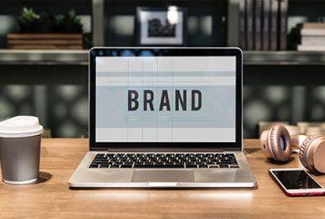 Laptop computer displaying Brand on screen