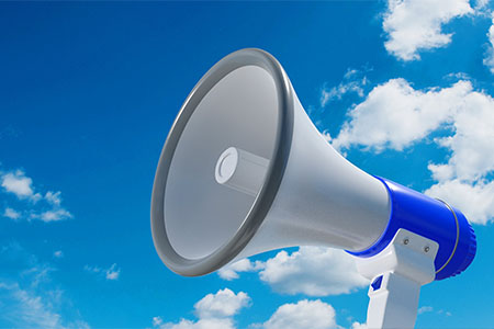 Megaphone used to communicate key messages