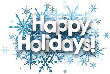 Happy Holidays with blue snowflakes