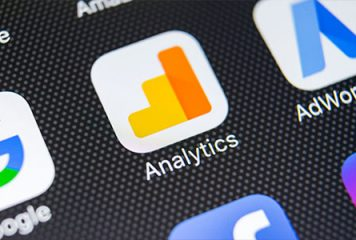 Tablet screen displaying Google Analytics icon