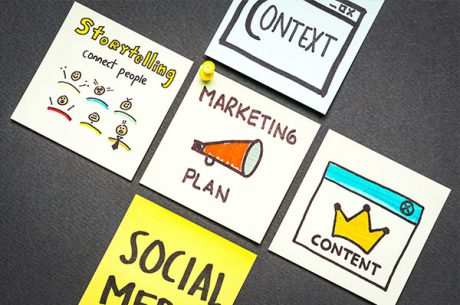 post it notes with social media related graphics