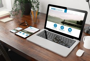 website template design on computer, tablet and smart phone