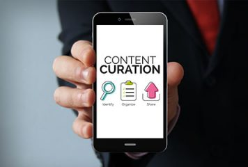 smart phone with Content Curation on its screen