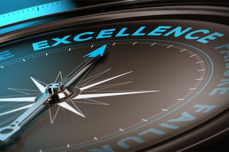 compass pointing towards business excellence