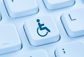 Web accessibility online internet website computer for people with disabilities symbol blue keyboard