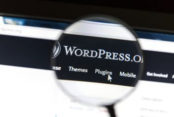 A magnifying glass over WordPress home page on computer screen with cursor pointing to Plugins