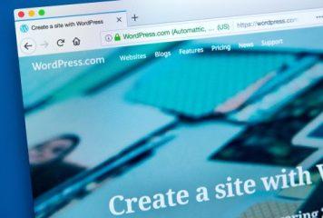 Wordpress homepage opened on computer search tab
