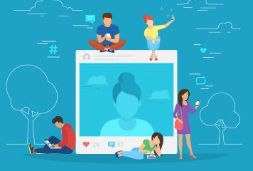 Social media graphic post with likes and comments at the center with people around it using their phones, tablet and laptop