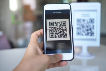 Cellphone scanning QR code